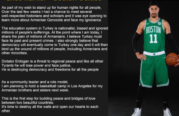 NBA Star Enes Kanter Raises Awareness About Armenian Genocide